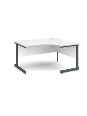 Contract 25 right hand ergonomic desk 1400mm - graphite cantilever frame, white top