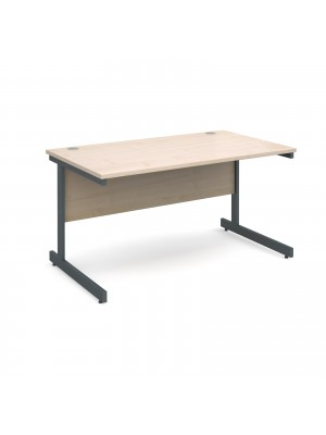 Contract 25 straight desk 1400mm x 800mm - graphite cantilever frame, maple top