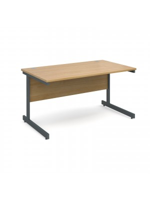 Contract 25 straight desk 1400mm x 800mm - graphite cantilever frame, oak top