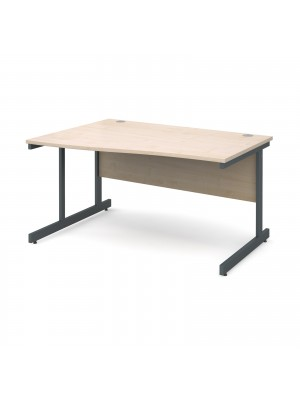 Contract 25 left hand wave desk 1400mm - graphite cantilever frame, maple top