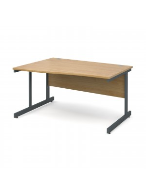 Contract 25 left hand wave desk 1400mm - graphite cantilever frame, oak top