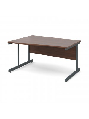 Contract 25 left hand wave desk 1400mm - graphite cantilever frame, walnut top