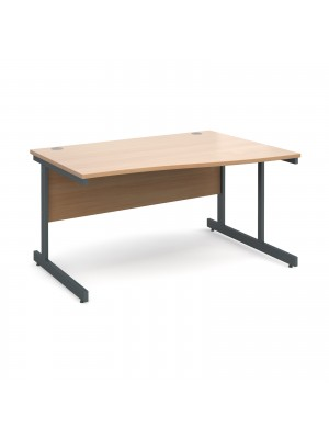 Contract 25 right hand wave desk 1400mm - graphite cantilever frame, beech top