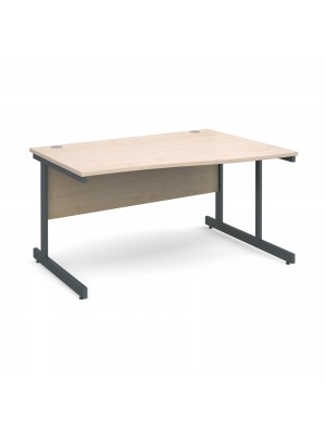 Contract 25 right hand wave desk 1400mm - graphite cantilever frame, maple top