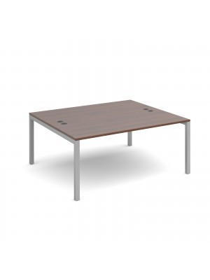 Connex starter units back to back 1600mm x 1600mm - silver frame, walnut top