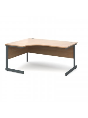 Contract 25 left hand ergonomic desk 1600mm - graphite cantilever frame, beech top