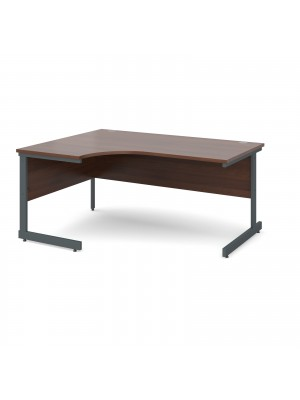 Contract 25 left hand ergonomic desk 1600mm - graphite cantilever frame, walnut top
