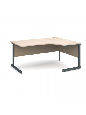 Contract 25 right hand ergonomic desk 1600mm - graphite cantilever frame, maple top