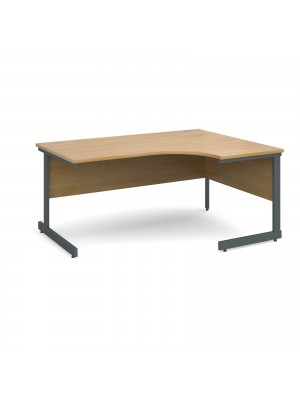 Contract 25 right hand ergonomic desk 1600mm - graphite cantilever frame, oak top