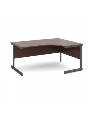 Contract 25 right hand ergonomic desk 1600mm - graphite cantilever frame, walnut top