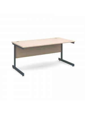 Contract 25 straight desk 1600mm x 800mm - graphite cantilever frame, maple top