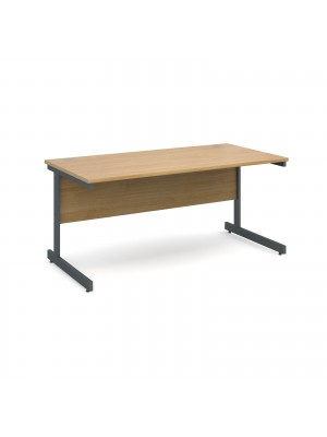 Contract 25 straight desk 1600mm x 800mm - graphite cantilever frame, oak top