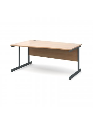 Contract 25 left hand wave desk 1600mm - graphite cantilever frame, beech top
