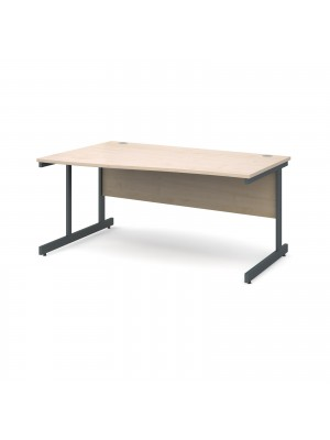 Contract 25 left hand wave desk 1600mm - graphite cantilever frame, maple top