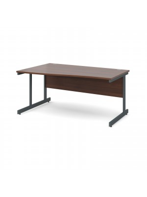 Contract 25 left hand wave desk 1600mm - graphite cantilever frame, walnut top