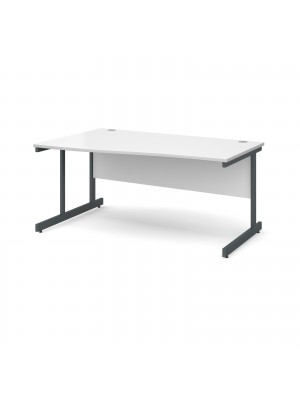 Contract 25 left hand wave desk 1600mm - graphite cantilever frame, white top