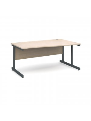 Contract 25 right hand wave desk 1600mm - graphite cantilever frame, maple top