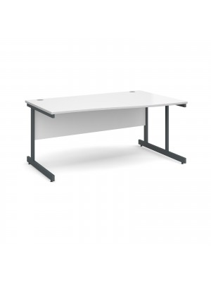 Contract 25 right hand wave desk 1600mm - graphite cantilever frame, white top