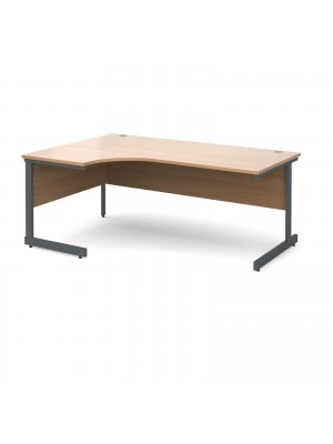 Contract 25 left hand ergonomic desk 1800mm - graphite cantilever frame, beech top