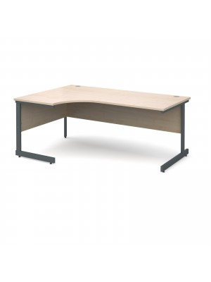 Contract 25 left hand ergonomic desk 1800mm - graphite cantilever frame, maple top