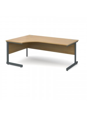Contract 25 left hand ergonomic desk 1800mm - graphite cantilever frame, oak top