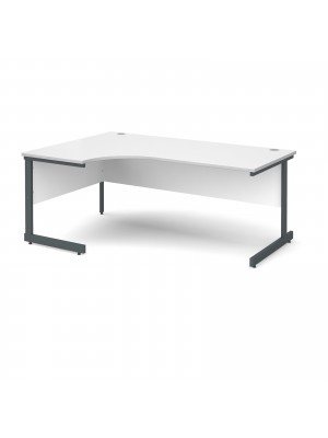 Contract 25 left hand ergonomic desk 1800mm - graphite cantilever frame, white top