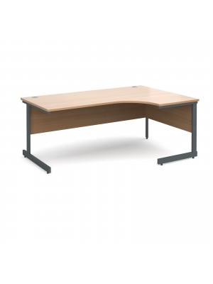 Contract 25 right hand ergonomic desk 1800mm - graphite cantilever frame, beech top