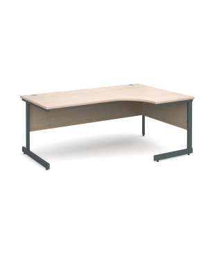 Contract 25 right hand ergonomic desk 1800mm - graphite cantilever frame, maple top