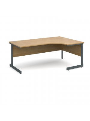 Contract 25 right hand ergonomic desk 1800mm - graphite cantilever frame, oak top