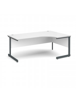 Contract 25 right hand ergonomic desk 1800mm - graphite cantilever frame, white top