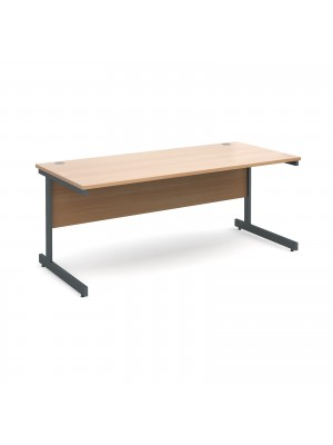 Contract 25 straight desk 1800mm x 800mm - graphite cantilever frame, beech top