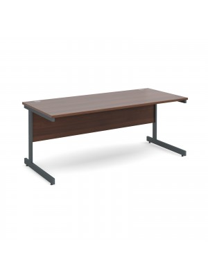 Contract 25 straight desk 1800mm x 800mm - graphite cantilever frame, walnut top