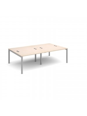 Connex double back to back desks 2400mm x 1600mm - silver frame, maple top
