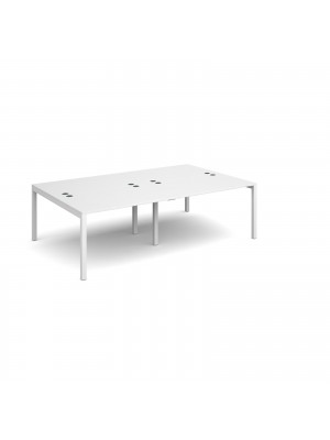 Connex double back to back desks 2400mm x 1600mm - white frame, white top