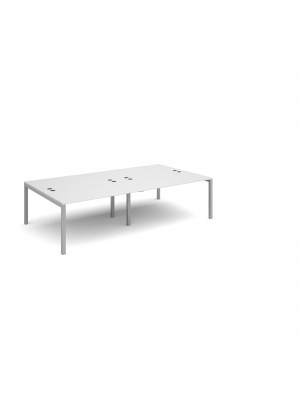 Connex double back to back desks 2800mm x 1600mm - silver frame, white top