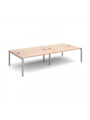 Connex double back to back desks 3200mm x 1600mm - silver frame, beech top