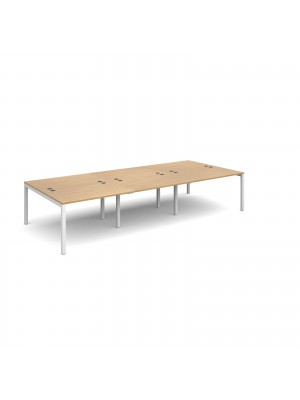 Connex triple back to back desks 3600mm x 1600mm - white frame, oak top