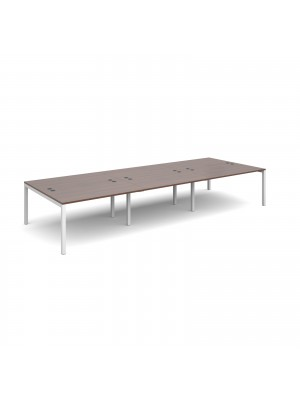 Connex triple back to back desks 4200mm x 1600mm - white frame, walnut top