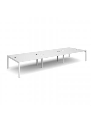 Connex triple back to back desks 4800mm x 1600mm - white frame, white top