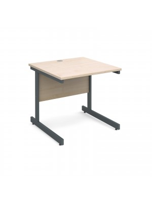 Contract 25 straight desk 800mm x 800mm - graphite cantilever frame, maple top
