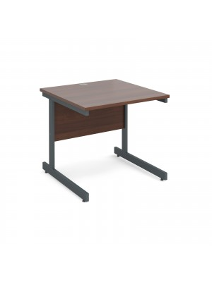 Contract 25 straight desk 800mm x 800mm - graphite cantilever frame, walnut top
