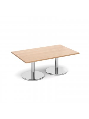 Rectangular coffee table with round chrome base 1300mm x 800mm - beech
