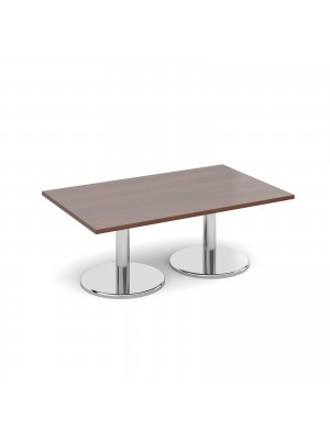 Rectangular coffee table with round chrome base 1300mm x 800mm - walnut