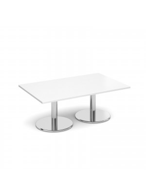 Rectangular coffee table with round chrome base 1300mm x 800mm - white