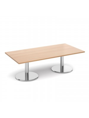 Rectangular coffee table with round chrome base 1600mm x 800mm - beech