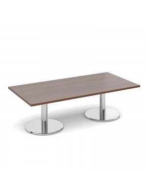 Rectangular coffee table with round chrome base 1600mm x 800mm - walnut
