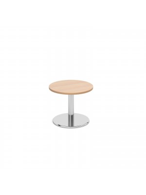 Circular coffee table with round chrome base 600mm - beech