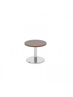 Circular coffee table with round chrome base 600mm - walnut