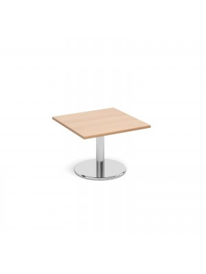 Square coffee table with round chrome base 700mm - beech