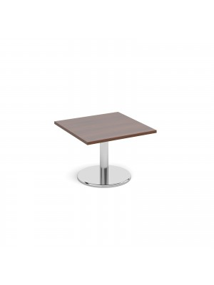 Square coffee table with round chrome base 700mm - walnut
